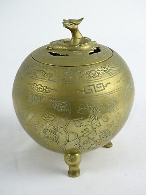 Fine Antique Chinese Etched Brass Lidded Censor Dragon Finial Qing Dynasty China