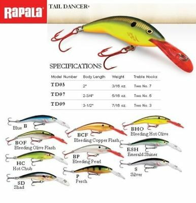 Rapala Tail Dancer // TD09 // 9cm 13g Fishing Lures (Choice of Colors)