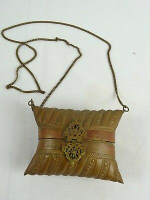 Vintage Indian pressed brass & copper Pillow Purse Blue Velvet interior India