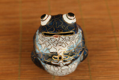 chinese old cloisonne hand carved frog statue have part flaw on mouth