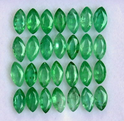 Natural Emerald 2.5x5 MM Marquise Cut Green Loose Untreated Gemstone Lot