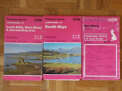 Loch Alsh, South Skye, Ben Nevis - 3 Ordnance Survey Maps - All Excellent.