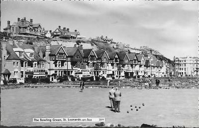 St. Leonards-on-Sea, E Sussex - Bowling Green - real photo postcard c.1950s