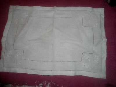 "A Very Pretty  White On White Embroidered Cotton Tray Cloth 20"" X 13.25"""