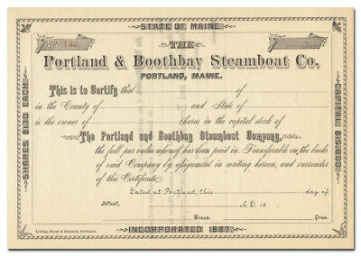 Portland & Boothbay Steamboat Company Stock Certificate (Maine, 1800's)