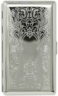 Silver Victorian Scroll (Half Pack – 10 120s) Metal-Plated Cigarette Case wit...