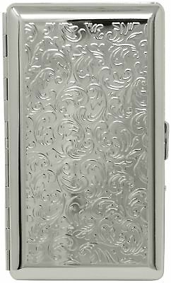 Silver Victorian Print (Half Pack – 10 120s) Metal-Plated Cigarette Case With...