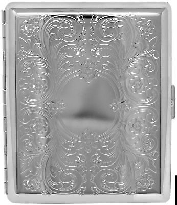Silver Vintage Victorian Scroll (Full Pack 100s) Metal-Plated Cigarette Case ...