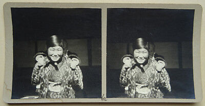 OLD STEREOVIEW, JAPAN, CA. 1920, NIKKO Woman with Child PHOTO JAPANESE