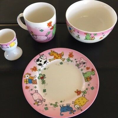 Maxwell Williams Children's Animals -Girls 4 pce set - Plate, bowl, cup & eggcup