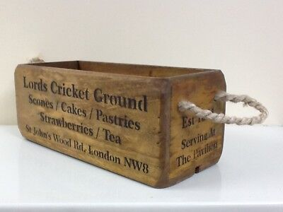 Lords Cricket Ground Antique / Vintage Style Wooden Storage Crate.box. Ecc