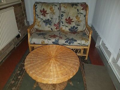 CANE BAMBOO CONSERVATORY FURNITURE SET. SETTEE CHAIRS and WICKER TABLE.