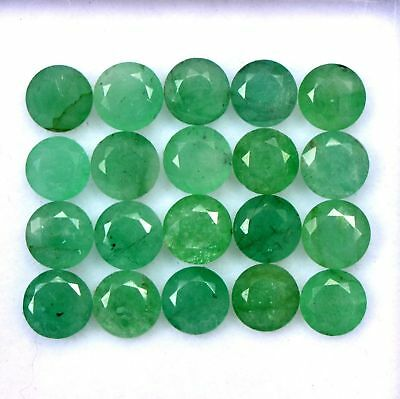 Natural Emerald 5 MM Round Cut Green Loose Untreated Gemstone Lot