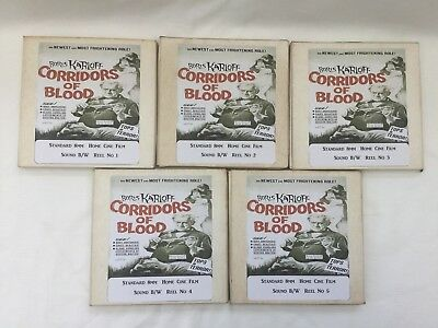 "CHRISTOPHER LEE "" CORRIDORS OF BLOOD "" CINE FILMs B/W 8MM SOUND 5 X 400FT REELS"