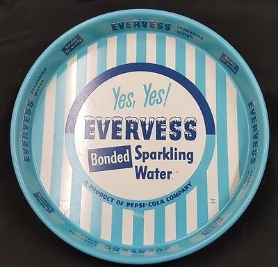 Evervess Bonded Sparkling Water Blue & White Round Tin Serving Tray Pepsi Cola