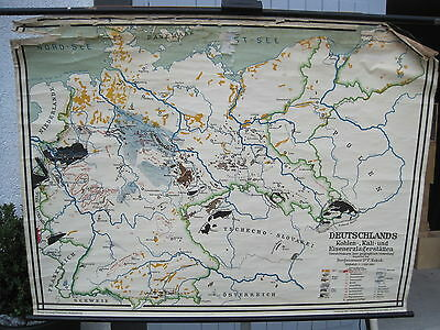 Schulwandkarte Germany Raw Materials 47 3/16x35 3/8in ~ 1935 Vintage Wall Chart