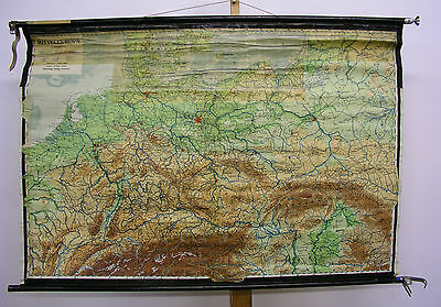 Schulwandkarte Beautiful Old Germany Map 1946 Printed 48 13/16x33 1/8in Vintage