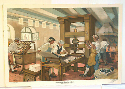 Wall Picture Beautiful Old Map Letterpress to Gutenbergs Time 92x60c