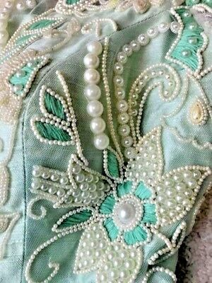 Indian Mint Raw silk Long Dress with cream pearls/green embroidery