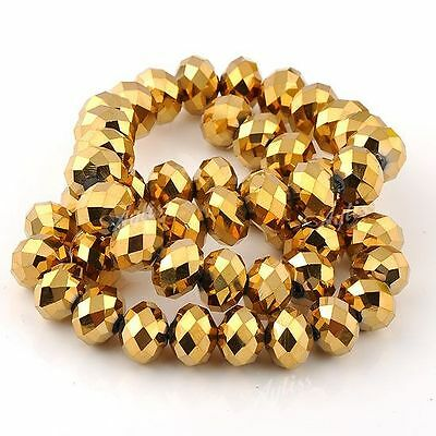 Fashion Women Golden Plated Faceted Crystal Glass Rondelle Abacus Loose Beads BD