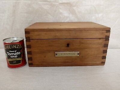 vintage stripped pine wooden desk top study box with key!