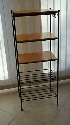 Longaberger Metalworks 5 Tier Shelf Unit with 3 Wood Shelves Made is USA Metal