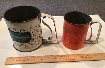 Vintage ANDROCK Floral Metal Tin Flour Sifters - Lot of 2 --