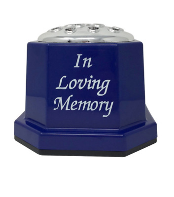 In Loving Memory Blue Plastic Grave Vase Flower Holder Remembrance Tribute