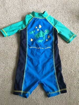 Swim Suit For Boys, Age 6-9 Months, Blue And Green With Fish/turtles. Mothercare