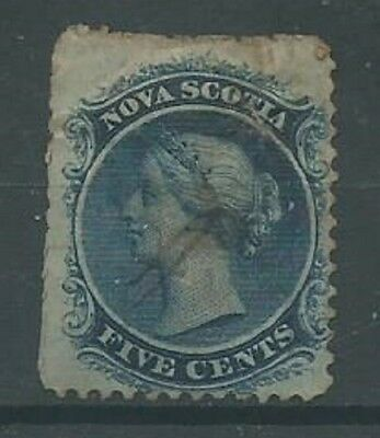 Nova Scotia 1860 5c blue SG24 from an old collection good used (1002)