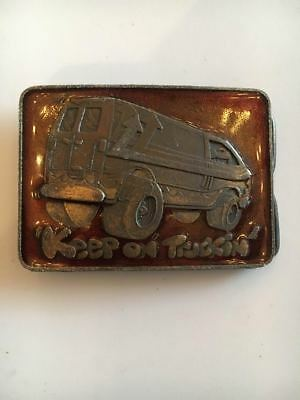 Truck Belt Buckle Keep On Truckin' Van Brass Trucker Boogie Hippie Peace VVPS