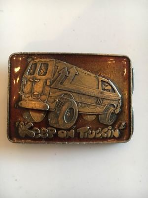 Vintage Truck Belt Buckle Keep On Truckin' Van Brass Trucker Boogie Hippie VVPS