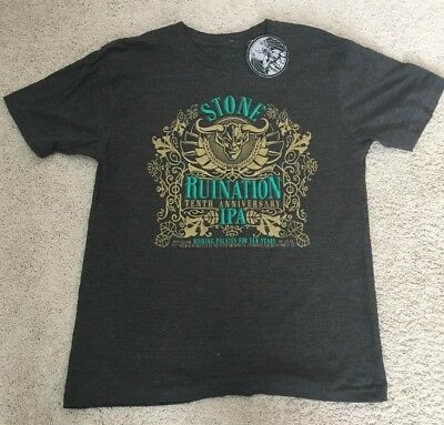 Stone Brewing Co. RUINATION IPA Beer 10th Anniversary Grey T-Shirt Large  NWT New 3ee833cf8