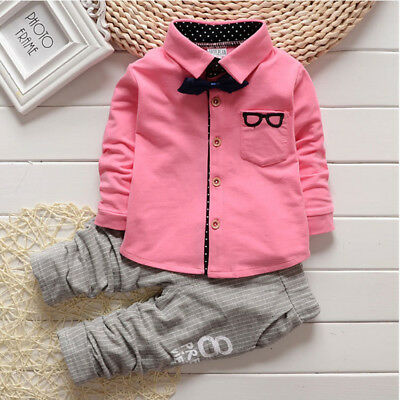Shirt Pants Outfits Baby Boy's Long Sleeve Tops Coat Cotton Button Tracksuits