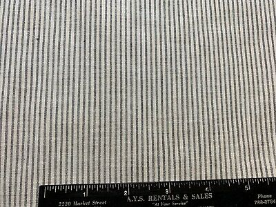Vintage Cotton Fabric Late 1800s Early 1900s Woven Black&White Stripes 28w 1yd
