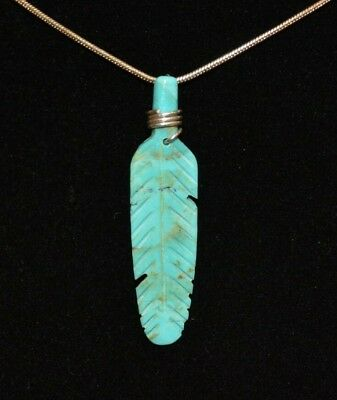 Necklace Feather Turquoise & Sterling Silver Native American Navajo J Howe