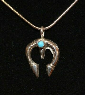 Naja Necklace Sterling Silver Turquoise Native American Navajo Artist Leo Chee