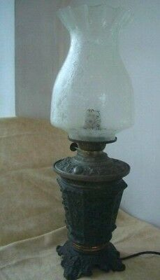 Antique Lamp Converted To Electric Old Oil lamp ~ Metal Base~ Etched Glass Shade