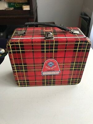 Red Plaid Metal Lunch Box  Dated 1964 By King-Seeley