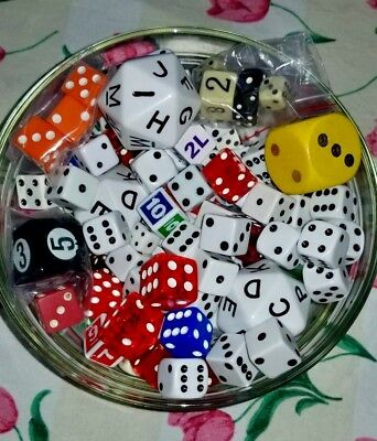 Vtg Lg Mixed Lot Of Dice Over 2 Lbs Sizes Colors Bakelite Numbers Letters Vary