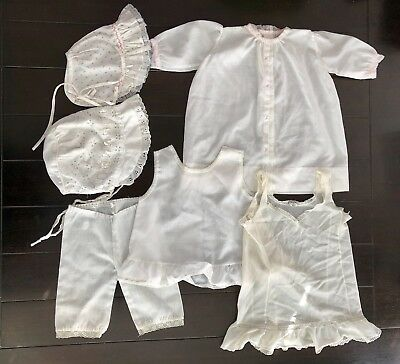 Antique Lot of Baby Clothes for Antique or Reborn dolls, 6 Pcs, Beautiful!