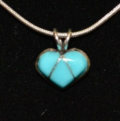 Necklace Heart Turquoise & Sterling Silver Native American Navajo Ida McCray