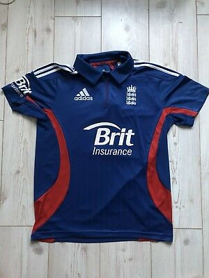 England Cricket Polo Style Top T Shirt Mens Size 40 / 42 Authentic Adidas