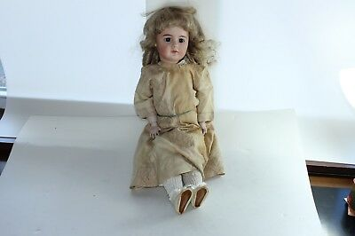 Vintage Simon & Halbig 949 Bisque Doll Closed Mouth With Antique Clothes 22""