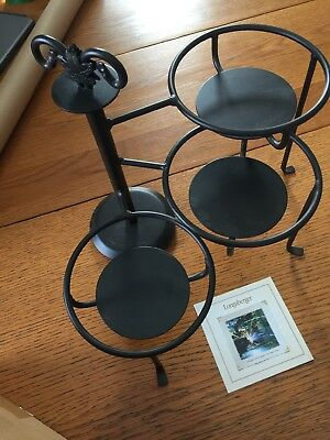 Longaberger Metalworks Wrought Iron Swivel Caddy. New In Box
