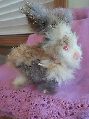 Vintage Wind-Up Toy Bunny Rabbit Hopped Jumped Real Hair
