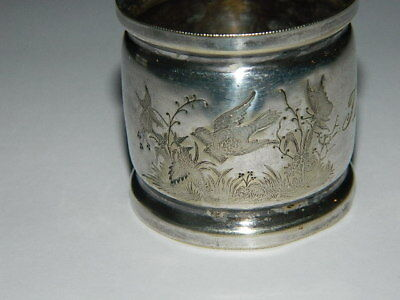Antique Victorian Silver Etched Bird Butterfly Flower Napkin Ring