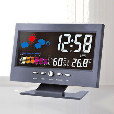 Digital Temperature Weather Computer Alarm Desk Clock Thermometer Voice Control