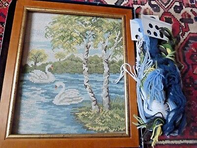 Gobelin TAPESTRY CANVAS ~ PAIR of SWANS , frame, wool, shabby chic design
