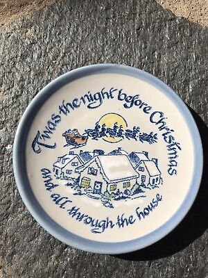 Louisville Pottery Stoneware Twas The Night Before Christmas Dessert Plate